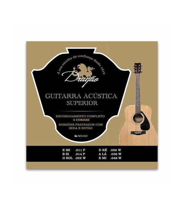 Jogo de Cordas Dragão 023 para Guitarra Acústica Superior Aço Seda Botão
