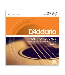 Juego de Cuerdas Daddário EJ15 010 para Guitarra Acustica Phosphor Bronze