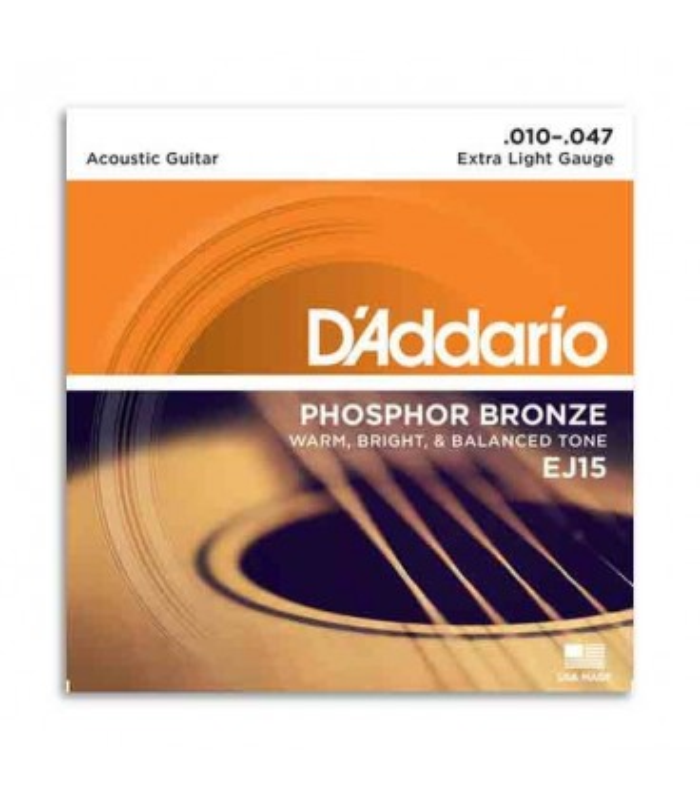 Jogo de Cordas DAddario EJ15 010 para Guitarra Acústica Phosphor Bronze