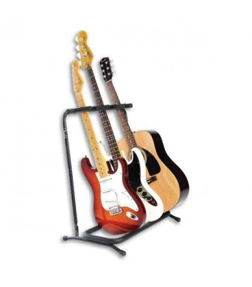 Foto do multistand Fender para 3 guitarras