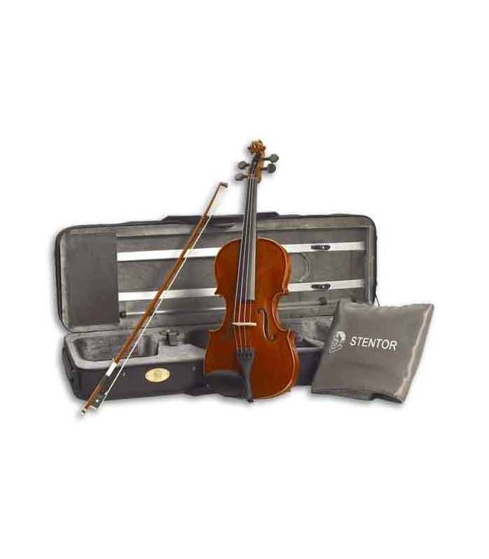 Foto do violino Stentor Conservatoire 1/2 com o arco e o estojo