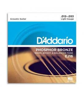 Juego de Cuerdas Daddário EJ16 012 Guitarra Acustica Phosphor Bronze