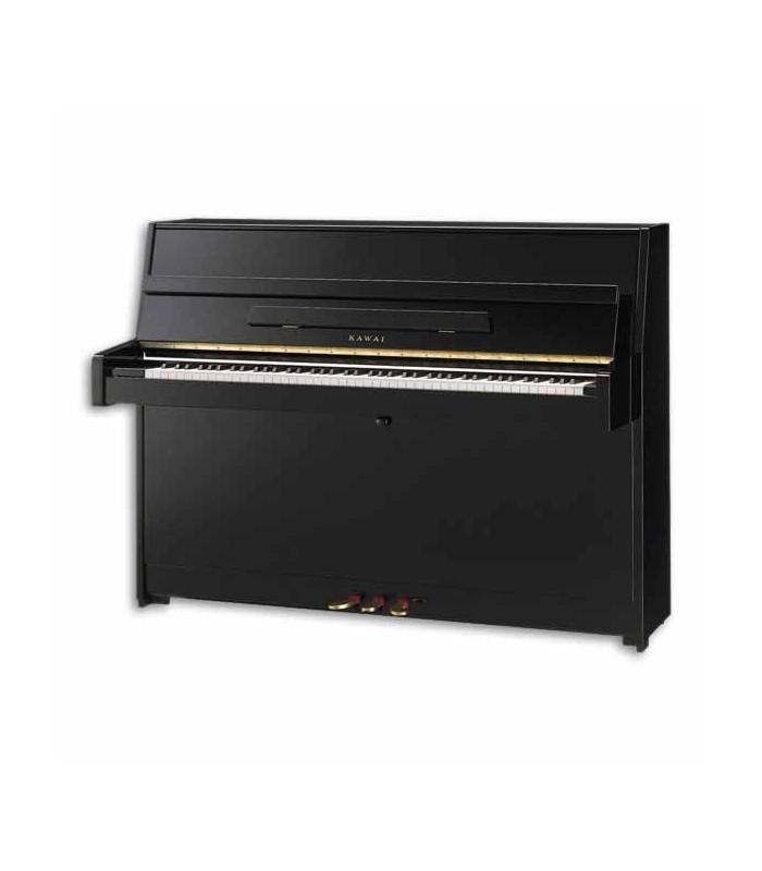 Piano Vertical Kawai K 15 110cm Preto Polido 3 Pedais