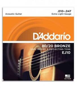 Jogo de Cordas Daddário EJ10 para Guitarra Acústica Bronze 010