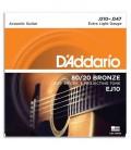 Jogo de Cordas DAddario EJ10 para Guitarra Acústica Bronze 010
