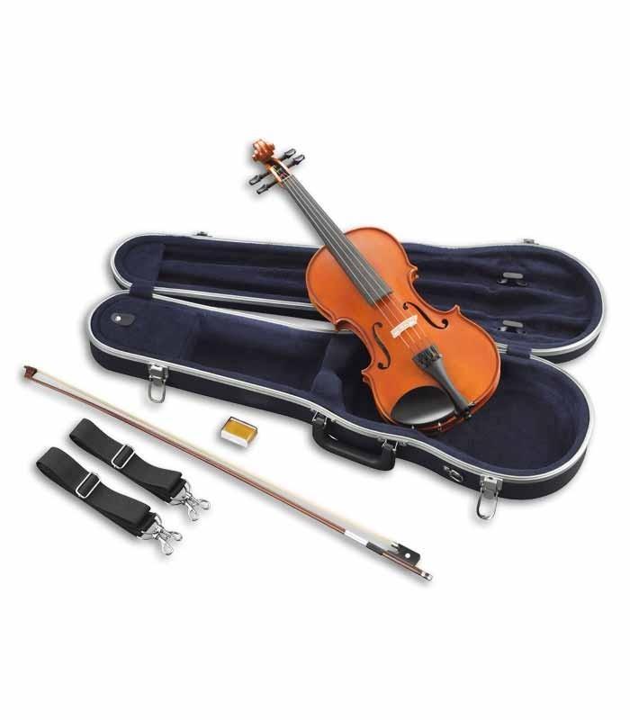 Foto do violino Yamaha V3 SKA com o arco e estojo