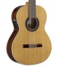 Corpo e roseta da guitarra clássica Alhambra 1C EZ. Tampo em cedro maciço, que lhe confere uma tonalidade quente e rica.