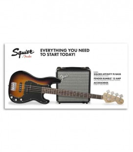 Pack Fender Squier Baixo Affinity Series Precision Bass Amplificador Rumble 15 Brown Sunburst