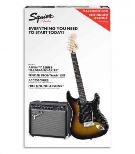 Pack Fender Squier Affinity Stratocaster Amplificador 15G Accesorios Brown Sunburst