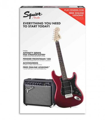 Pack Fender Squier Affinity HSS Strat Amplificador 15G Acessórios Candy A Red