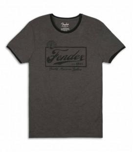 T Shirt Fender Cinza Beer Label Ringer Size XL