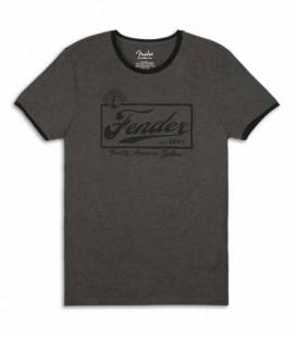 T Shirt Fender Cinza Beer Label Ringer Size L