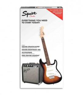Pack de Guitarra Elétrica Fender Squier Affinity Stratocaster Amplificador 10G Acessórios Brown Sunburst