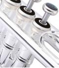 Foto detalle de los pistones de la Trompeta John Packer JP251SWS