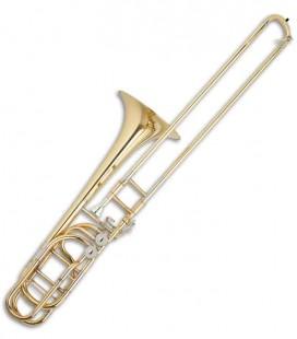 Trombone de Varas Baixo John Packer JP232 Si Bemol/Fá/Mi Bemol/Sol + Si Bemol/Fá/Ré/Sol Bemol Dourado com Estojo