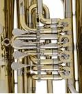 Foto detalle de las válvulas de la Tuba John Packer JP379B Sterling