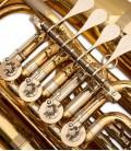 Foto detalle de las válvulas de la Tuba John Packer JP379FF Sterling