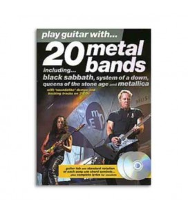 Livro Music Sales AM976745 Play Guitar With 20 Metal Bands Book CD