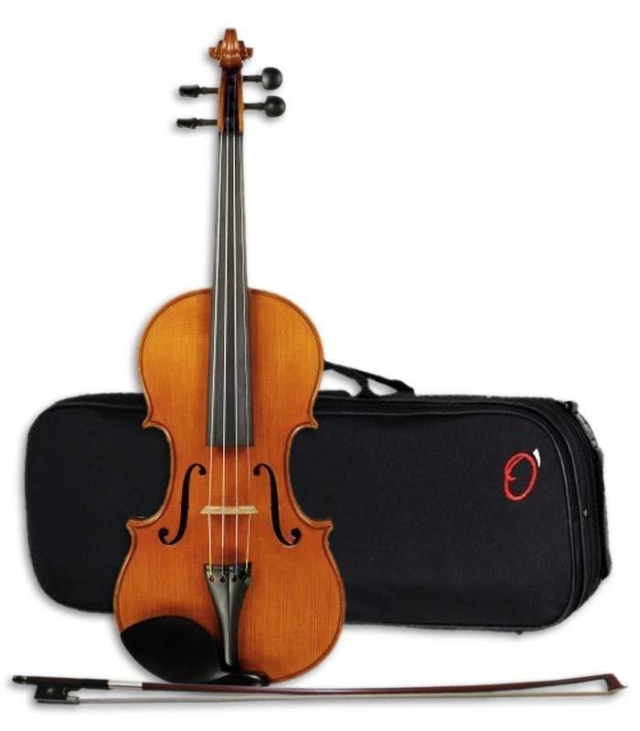 Foto do violino Heritage YVC-35 com o arco e estojo