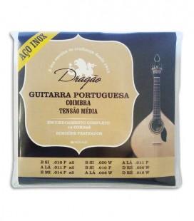 Jogo de Cordas Dragão Guitarra Portuguesa Afinação Coimbra Tensão Média Aço Inox
