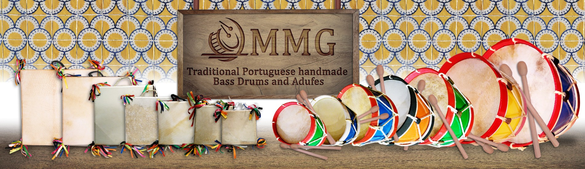 Traditional Portuguese handmade bass drums and adufes