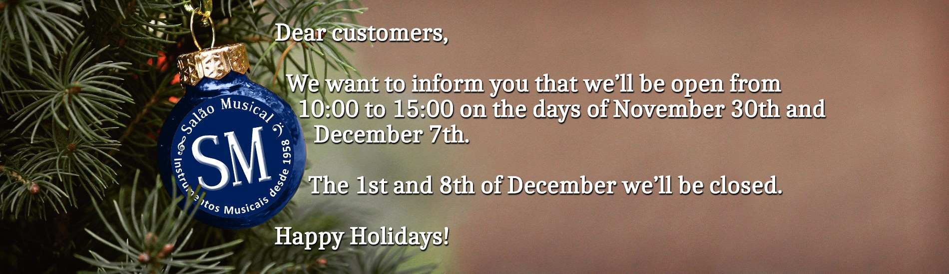 Notice! We'll be open from 10:00 to 15:00 on November 30th and December 7th and closed on December 1st and 8th!