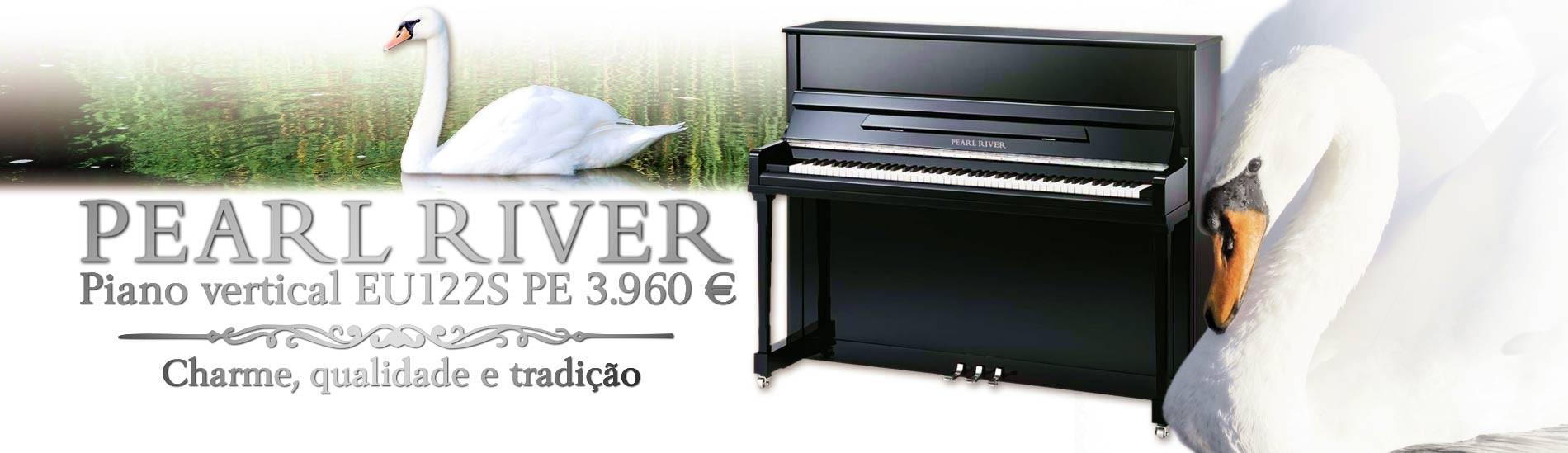 Piano Vertical Pearl River EU122S PE Preto Polido Premium Profissional