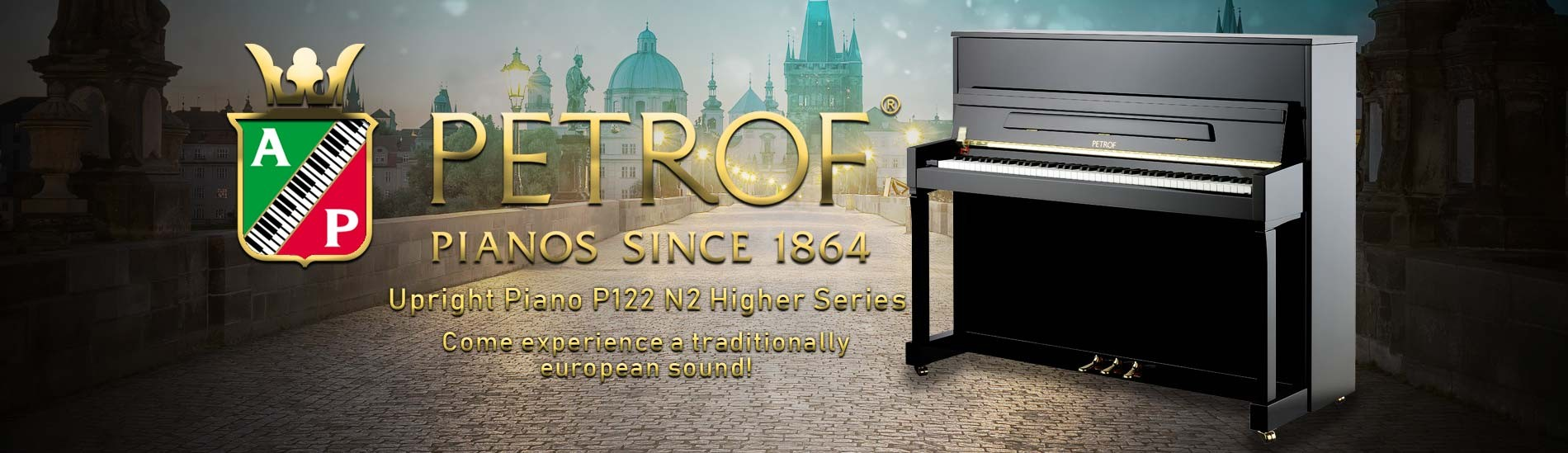 Petrof Upright Piano P122 N2 Higher Series - Come experience a traditionally european sound!