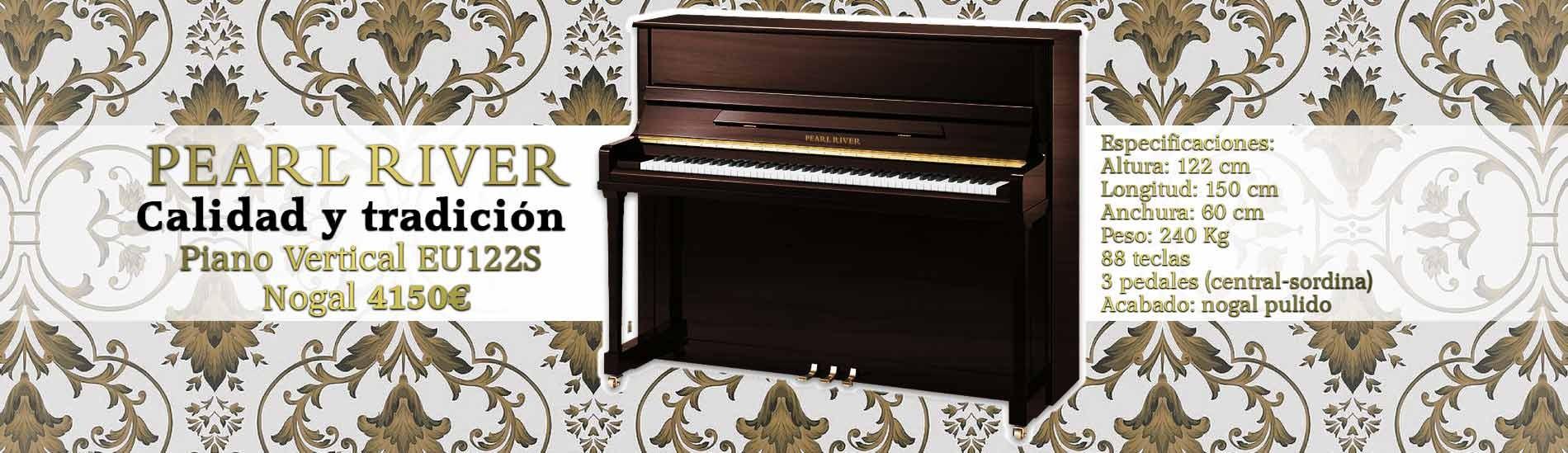 Piano Vertical Pearl River EU122S Nogal Pulido Premium Profissional